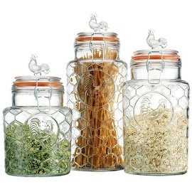 "Palais 'Rooster'  Clear Glass Canister with Bail & Trigger Locking Lids (Set of 3 - 7""- 9""-11"" High)"
