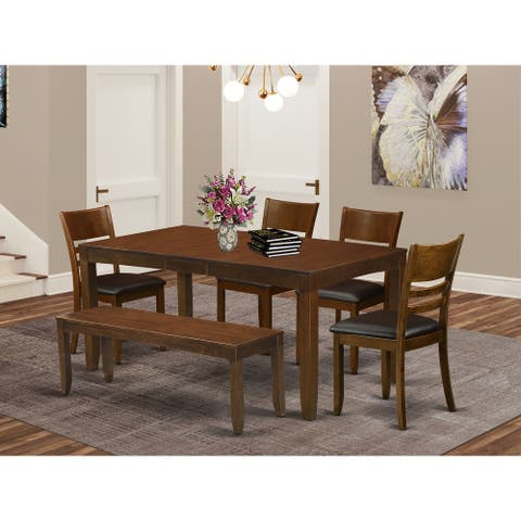 Espresso Wood Dining Table with Leaf and 4 Chairs Plus 1 Dining Bench (Finish Option)