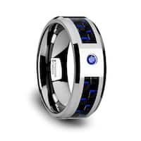 Thorsten Tungsten Carbide Ring with Black and Blue Carbon Fiber and Blue Sapphire Setting with Bevels - 8mm NEPTUNE