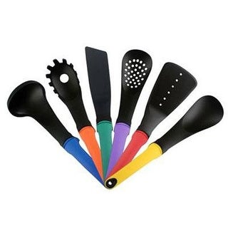 Ragalta Riu-003 6 Piece Heat Resistant Kitchen Utensil Set With Weighted Rubberized Easy Grip Handles, Multicolor