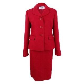 Le Suit Women's Tweed Three-Button Skirt Suit - Scarlet
