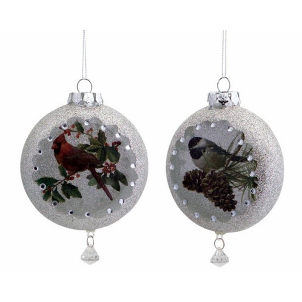 """Club Pack of 12 Elegant Glass Disc Christmas Ornaments with Wintry Birds 5.5"""""""