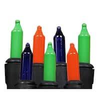 Set of 50 Multi-Color Purple, Green & Orange Mini Halloween Lights - Black Wire - Multi