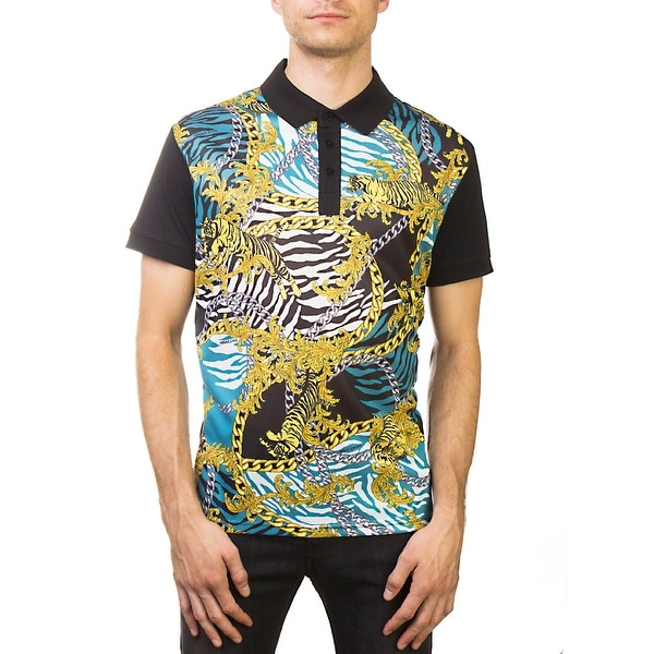 ef1cff944 Versace Jeans Couture Pima Cotton Baroque Design Polo Shirt Black Gold Teal