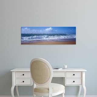 Easy Art Prints Panoramic Images's 'Waves breaking on the coast, Morbihan, Brittany, France' Premium Canvas Art