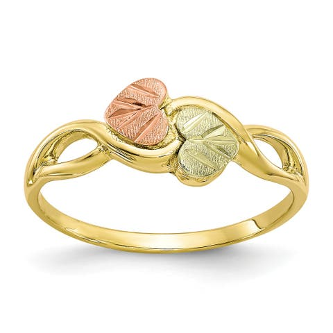 10K Yellow Gold with 12K Rose and Green Accent High Polished Black Hills Ring