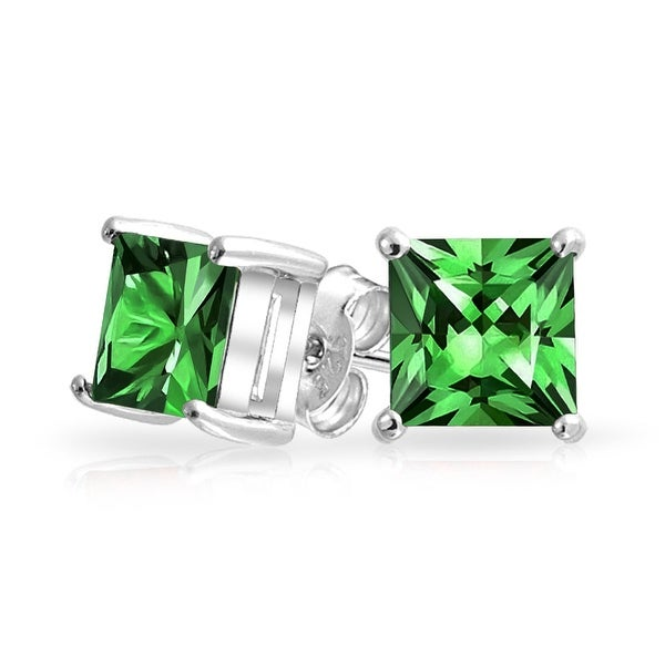 894ae589d764f 1CT Green Square Cubic Zirconia Brilliant Princess Cut CZ Stud Earrings 925  Sterling Silver Imitation Emerald 7MM