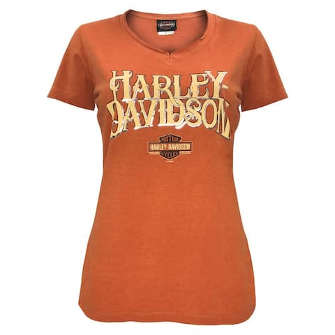 Harley-Davidson Women's Hustle Notched V-Neck Short Sleeve Tee, Orange