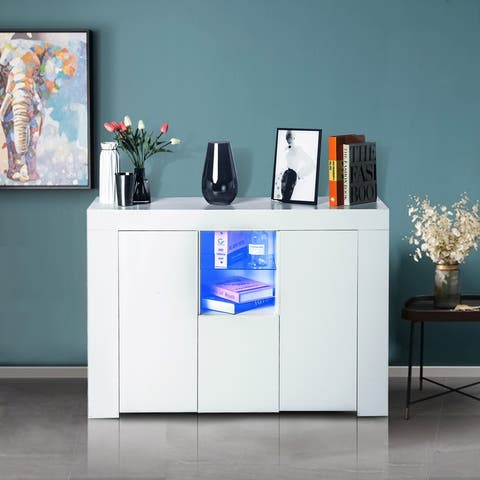 High Glossy Panel White Sideboard UV Coated with Led Lights