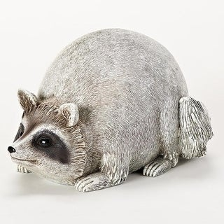 "6"" Ivory White and Brown Raccoon Figurine Outdoor Garden Statue"