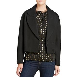 Diane Von Furstenberg Womens Cropped Jacket Twill Lined