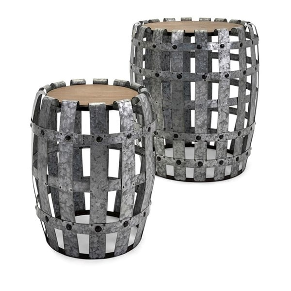 Set of 2 Industrial Inspired Galvanized Metal and Fir Wood Round Accent Tables - N/A