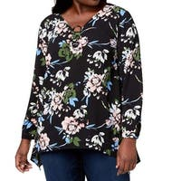 NY Collection Black Womens Size 3X Plus Hardware Floral Blouse