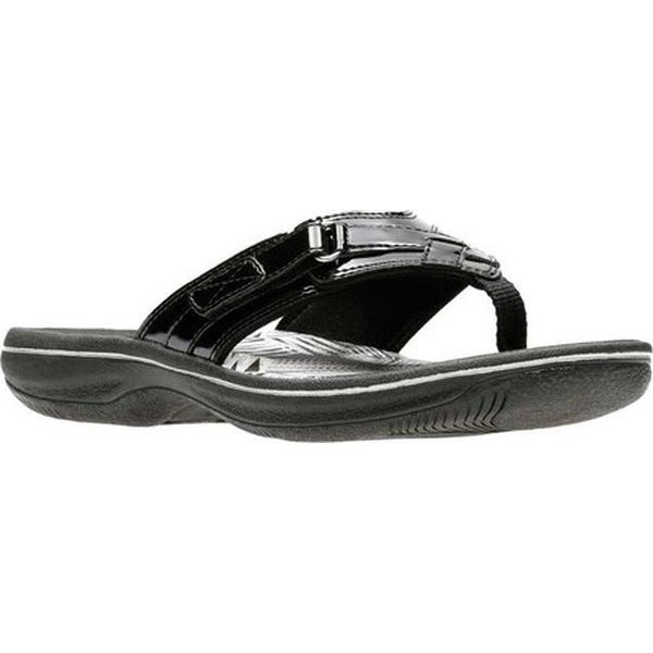 26006c80f Shop Clarks Women s Breeze Sea Flip Flop Black Synthetic Patent - On ...
