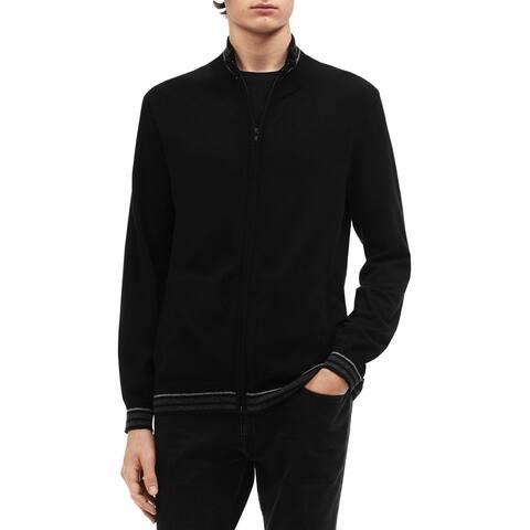 Calvin Klein Mens Big & Tall Sweater Striped Zip Up