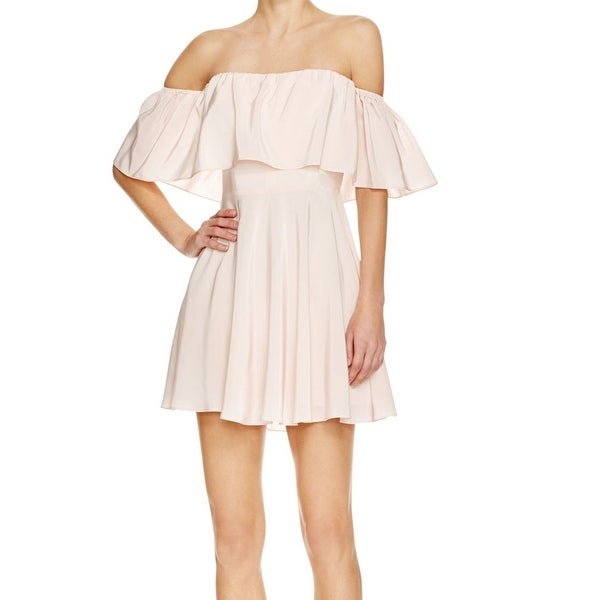 Shop Amanda Uprichard NEW Pink Off-Shoulder Medium M Sheath Silk ...