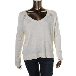 Rachel Rachel Roy Womens Ribbed Trim U-Neck Pullover Sweater
