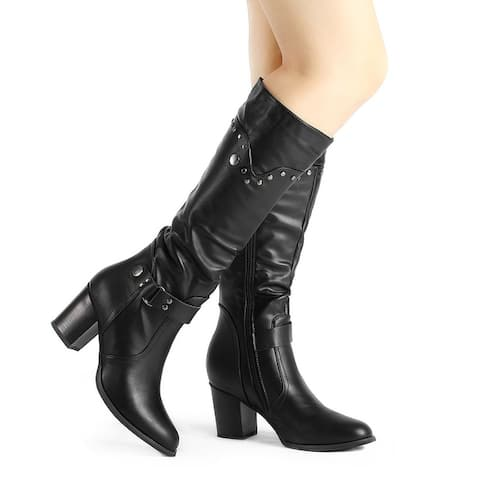 Women's Pointed Toe Chunky Heel Knee High Riding Boots