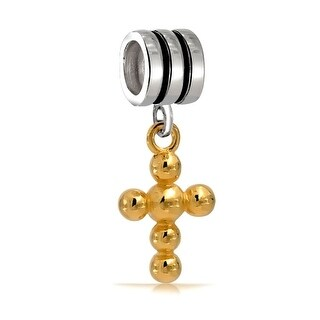 Sterling Silver Gold Plated Cross Inspirational Bead Charm