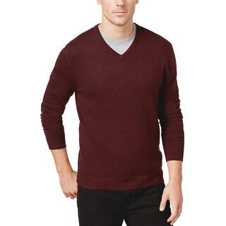 Alfani Black Label Regular Fit V-Neck Sweater Port Burgundy Heather XX-Large