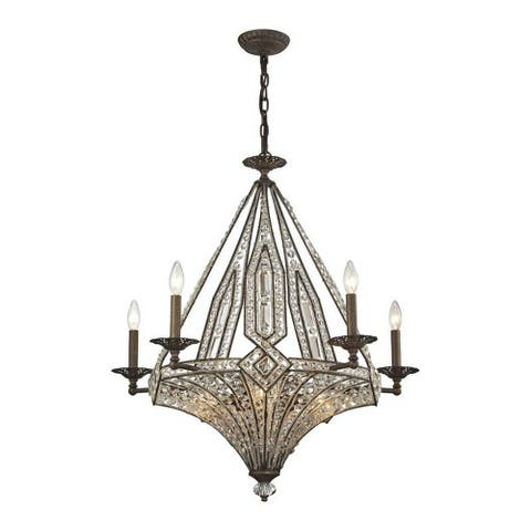 Montpelier North - Ten Light Chandelier Antique Bronze Finish with Clear Crystal