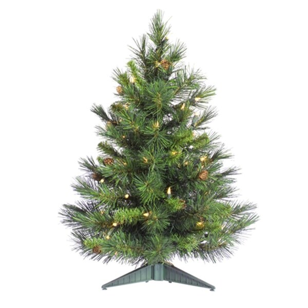 2' Pre-Lit Cheyenne Pine Artificial Christmas Tree - Clear Dura Lights