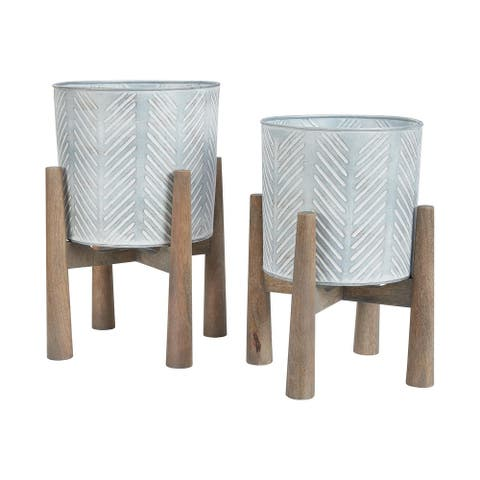"""Donisha Contemporary Antique Brass Finished Planter - Set of 2 - Planter-small: 9"""" W x 9"""" D x 15"""" H"""