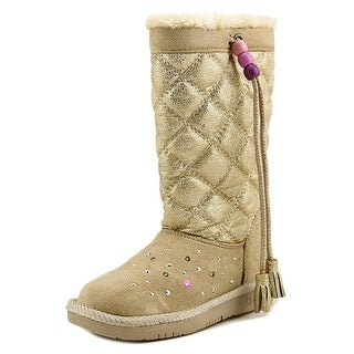 Twinkle Toes By Skechers Pretty Preppy Youth  Round Toe Suede Gold Winter Boot