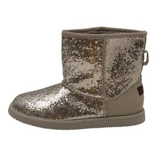 L'Amour Little Girls Silver Glitter Furry Lined Suede Detail Boots 7-10 Toddler