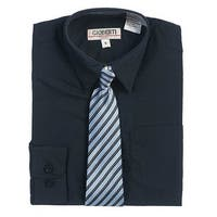 Navy Button Up Dress Shirt Blue Striped Tie Set Toddler Boys 2T-4T