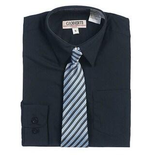 Navy Button Up Dress Shirt Blue Striped Tie Set Toddler Boys 2T-4T