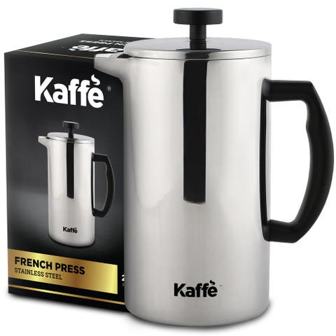 KF1020 French Press Coffee Maker by Kaffe. Food Grade Double-Wall Stainless Steel (27oz / 0.8L) 6 cups. Extra Filter Included