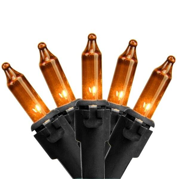 "Set of 100 Orange Mini Christmas Lights 2.5"" Spacing - Black Wire"