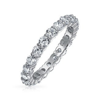 Bling Jewelry Stackable Clear CZ Eternity Wedding Band Ring 925 Silver