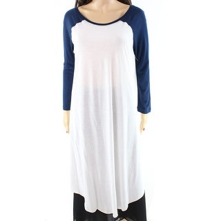 Free People NEW Blue White Women's Size XS Distressed Raglan Tunic Top
