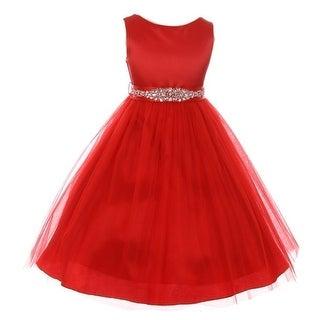 Little Girls Red Glitter Bejeweled Waist Sleeveless Flower Girl Dress