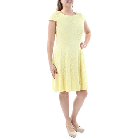 CONNECTED Womens Yellow Lace Cap Sleeve Jewel Neck Knee Length Circle Dress Size: 12