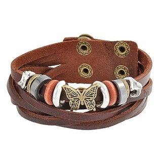 Bling Jewelry Butterfly Imitation Hematite Leather Bracelet Gold Plated