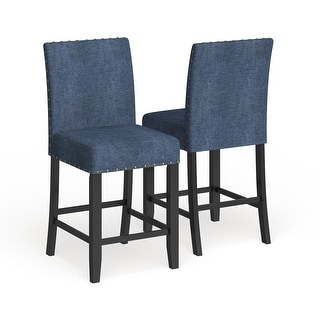 "Strick & Bolton Gallaccio 25-inch Blue Fabric Stool (Set of 2) - 40""H x 18.3""W x 22.3""L"