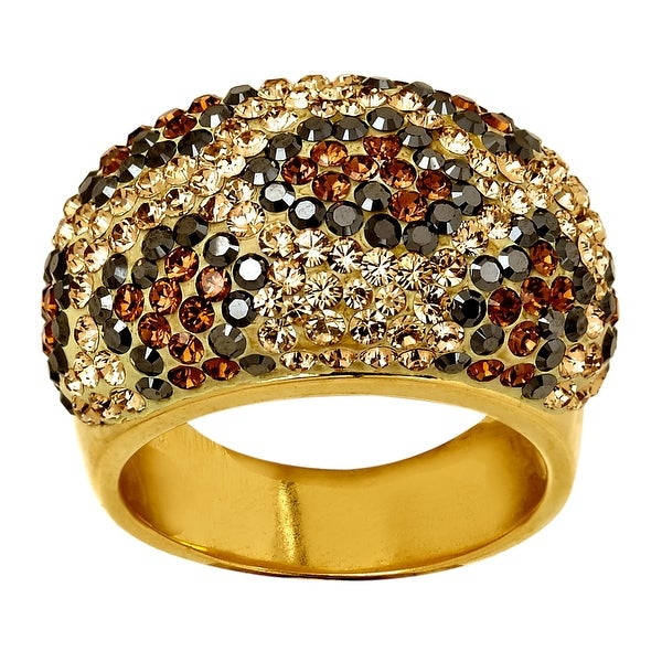 Crystaluxe Leopard Dome Ring with Swarovski Elements Crystals in 18K Gold-Plated Sterling Silver - multi-colo