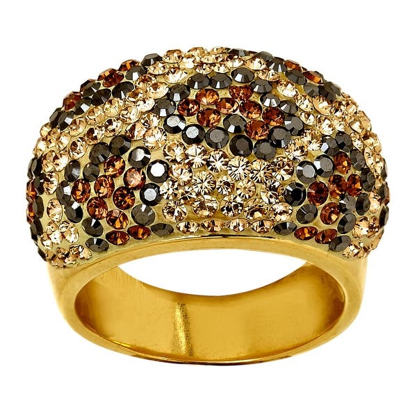 f336ea3b6 Shop Crystaluxe Leopard Dome Ring with Swarovski Crystals in 18K Gold-Plated  Sterling Silver - On Sale - Free Shipping Today - Overstock - 14085349 ...