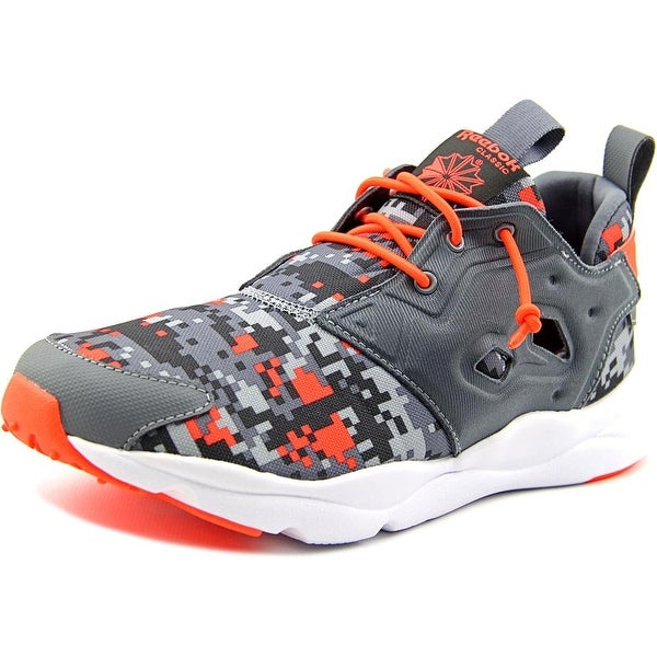 Reebok Furylite Graphic Youth Round Toe Canvas Gray Running Shoe