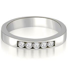 0.25 cttw. 14K White Gold Round Diamond 5-Stone Channel Wedding Band