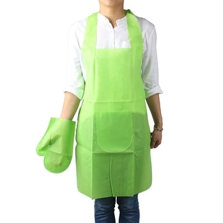Dots Print Kitchen Cooking Neck Disposable Apron Self Tie Bib Dress Light Green