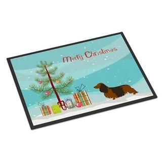 Carolines Treasures BB8449MAT Longhaired Dachshund Christmas Indoor or Outdoor Mat - 18 x 27 in.