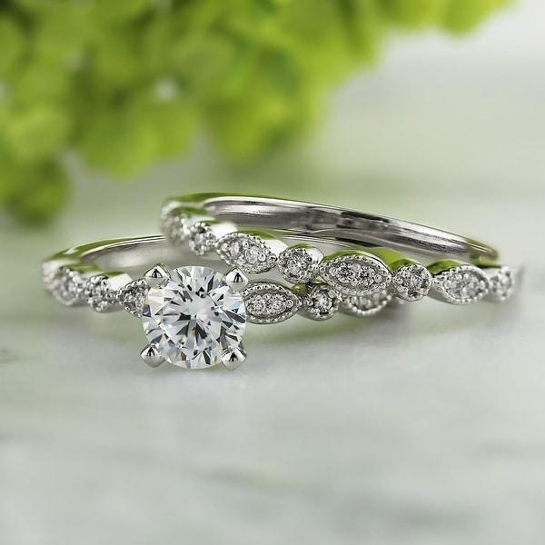 Auriya 14k Gold 4/5ctw Vintage Inspired Diamond Engagement Ring Set. Opens flyout.