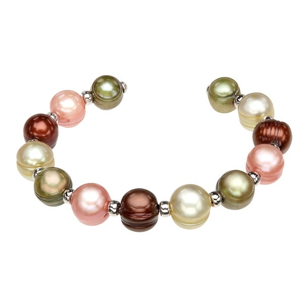 Honora 9x10.5 mm Multi-Color Freshwater Pearl Cuff Bracelet in Sterling Silver