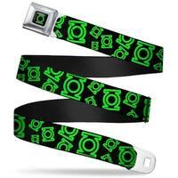 Green Lantern Logo Close Up Black Green Electric Green Lantern Logo Seatbelt Belt