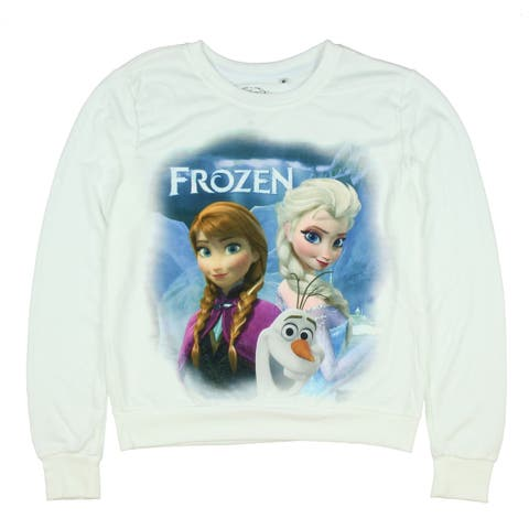Disney Frozen Trio Fade Womens White Sweater Shirt