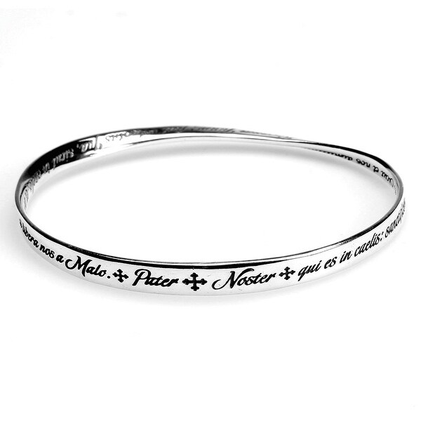 Women's Lord's Prayer Mobius Bangle Bracelet - Latin - Silver